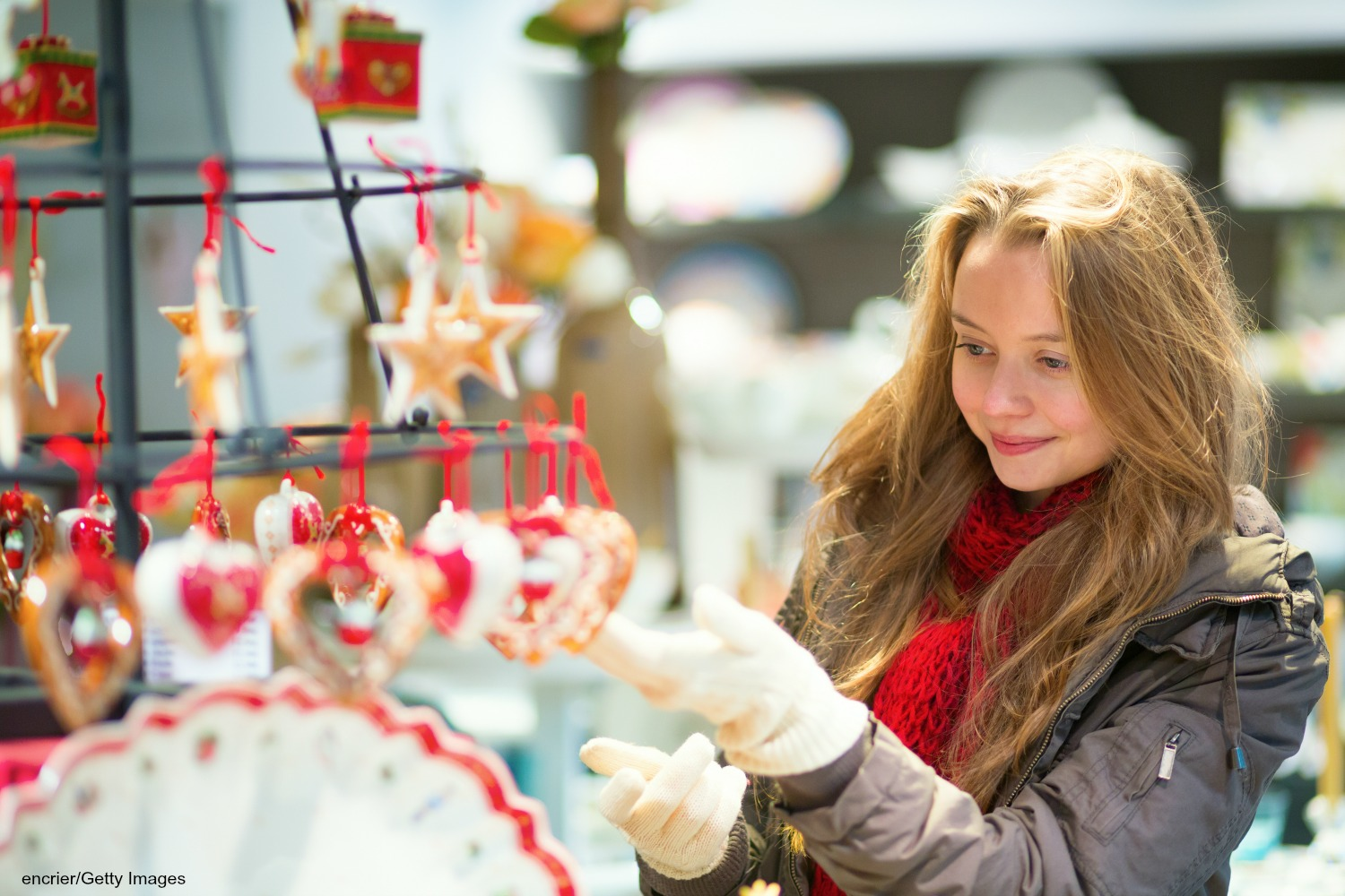 woman at a christmas market | holiday events near Indianapolis, IN