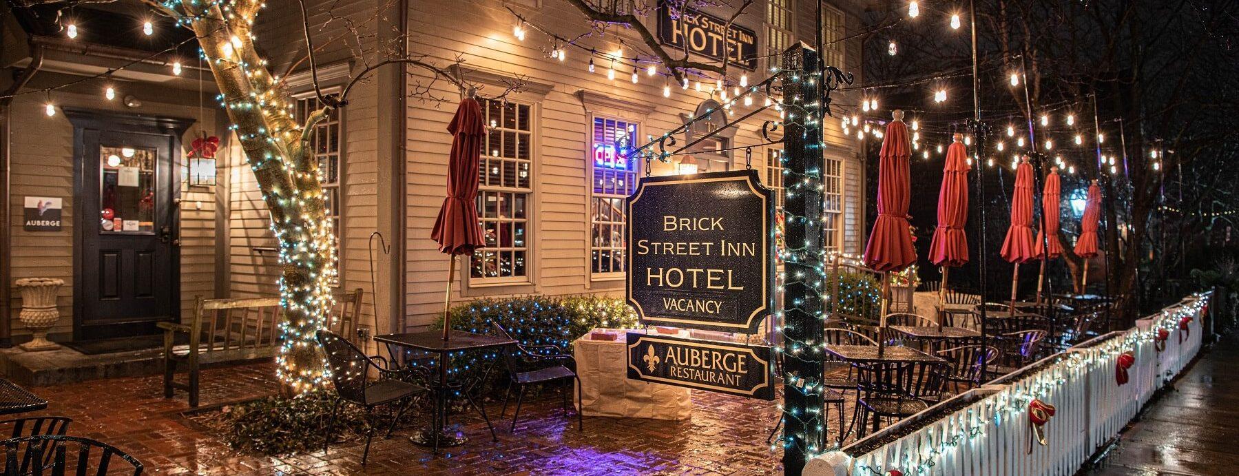 Brick Street Inn Exterior During the Holiday Season